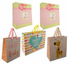 Baby Shower Gift Bag Bundle (5 Bags, 4 Designs, Medium/Large) Girl, Nuetral