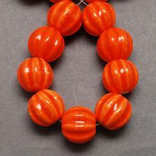 Porcelain Beads Orange Pumpkin Beads Halloween Beads Handmade 13mm Fall Beads