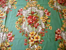 Antique Vintage Floral Cartouche Cotton Fabric ~ Aqua Jadite Yellow Coral Red