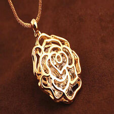 Hot Women Necklace Gold Hollow Rose Flower Crystal Rhinestone Pendant Long Chain