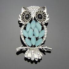 Blue Opal Pearl Rhinestone lady cute owl animal brooch wedding accessories Gift