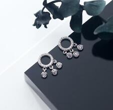 925 Sterling Silver CZ Dream Catcher Circle Dangle Post Stud Earrings Gift A1125