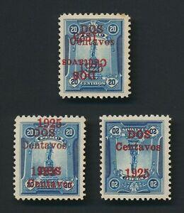 PERU STAMPS 1925 20c OLAYA STATUE SURCHARGE ERRORS Sc #252a #252b, MINT OG