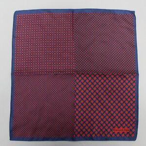 "Ermenegildo Zegna Red & Blue Geometric Print Silk Pocket Square 12.5"""
