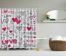 Love Letter Digital Print Shower Curtain Hugs $ Kisses Heart Love Red Lips Decor