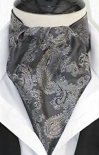 Da Uomo Grigio e Argento Paisley raso di seta ASCOT Cravatta e Hanky-UK MADE VINTAGE