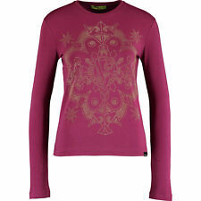 £140 VERSACE JEANS Designer Raspberry Studded Long Sleeve Eye-Catching Top UK 6