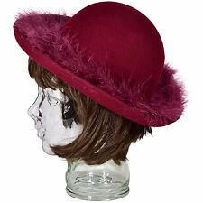 1950's Vintage Feather Trimmed Bowler Hat Women's S Wool Wine Red Tally Ho