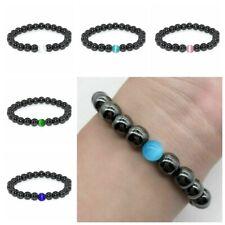 Women Men Black Obsidian Beads Bracelet Attract Wealth Good Luck Jewelry