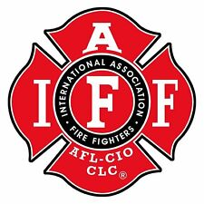 """IAFF International Fire Fighter Red Bumper Sticker 4"""" X 4"""""""
