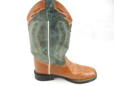 Old West Barnwood Square Toe Brown Leather/Teal Boot Bsy1872 Big Kids Sz 5.5