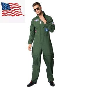 Men Pilot Costume Aviator Fancy Dress Halloween Party Cosplay Outfit US Shipping