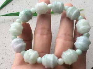 Certified Natural A Grade Exquisite 14mm Light green Jadeite Carving Bracele 262