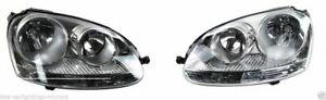 Volkswagen Vw Golf 2004 - 2009 Mk5 Headlight Headlamp Chrome Pair Right & Left
