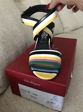 Salvatore Ferragamo Multi Color Strip Sandal Size 9 1/2