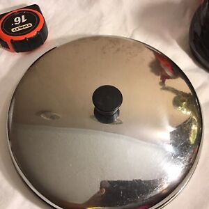 Vintage Stainless Steel Replacement Lid with Black Knob