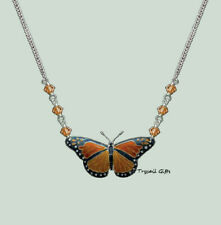 Bamboo Jewelry MONARCH BUTTERFLY Cloisonne Nature NECKLACE Sterling Silver