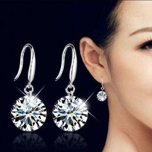 S925 Silver Sterling Plated Earrings Drop Dangle Hook Women Crystal Studs Round