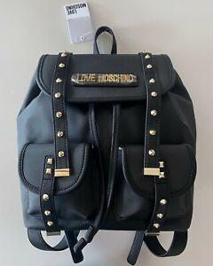 NWT LOVE MOSCHINO Black Medium Backpack Golden Studs Logo Pockets