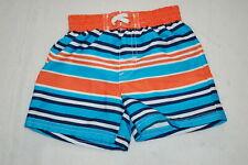 Baby Boys Swim Trunks Turquoise Orange Navy Blue White Striped Lined Size 0-3 Mo