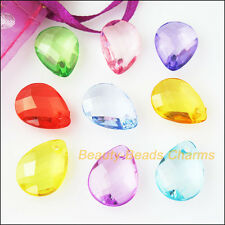 30 New Charms Acrylic Plastic Teardrop Faceted Pendants Mixed 12x17mm