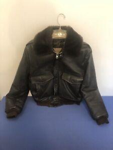 Vintage  Biker Leather Jacket Montgomery Ward Men's 38 Faux Fur Collar Lined