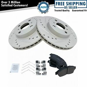 Performance Drilled Slotted Coated Brake Rotor & Ceramic Pad Front Set