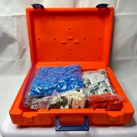 RARE VINTAGE 1985 FISHER PRICE CONSTRUX BUILDING TOY CASE WITH LOTS OF PIECES