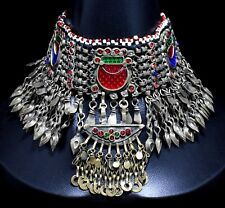 Tribal Jewelry Bohemian Boho Pendant Genuine Afghan Kuchi Choker Necklace Chain