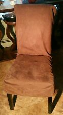 """Sure Fit Dining Room Chair Slip Cover Set of 4 Brown Suede for Armless Chair 42"""""""