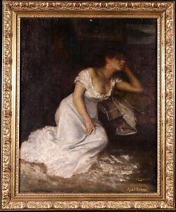 ALEXANDRE LE BIHAN (1837-1924) SIGNED FRENCH ORIENTALIST OIL - NUDE ARAB GIRL