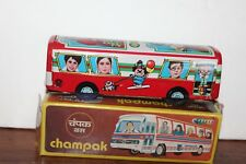 VINTAGE TIN FRICTION RED CHAMPAK COACH BUS in ORIGINAL BOX