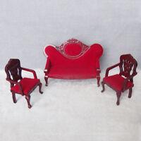 Retro 1/12 Dollhouse Miniature Furniture Living Room Sofa Couch Chair Kit