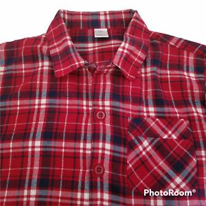 Gap Kids Shirt Boys 14 Red White Blue Plaid Long Sleeve Button Up