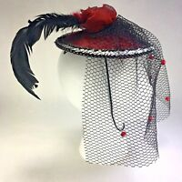 Fascinator Headpiece Black Red With Feathers Veil Gothic Costume Accessory