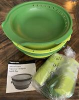 Green Tupperware Smart Multi-Cooker Steamer & Rice Maker & Pasta Maker w/acc