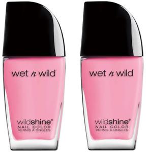 Wet N Wild Nail Polish Tickled Pink Set of 2 C455B Wildshine High Shine Formula