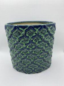 Blue Cobalt Green Abstract Swirl Glazed Porcelain Oval Flower Vase Home Decor