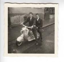 Scooter Germany 1950's 2 men. Vintage snapshot G810
