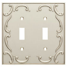 Double Switch Plate French Lace Nickel Brainerd W10371