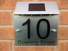 Personalised House number sign clear acrylic perspex aluminium Solar Light