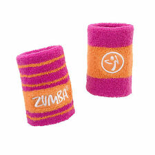 ZUMBA Fitness Space Cuff wrist bands 2-pack hot pink orange  NWT sweat band