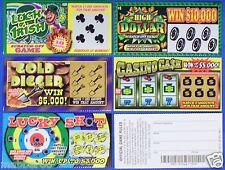3 ASSORTED FAKE ALL WINNING WINNERS SCRATCH OFF LOTTERY TICKETS TRICK JOKE PRANK