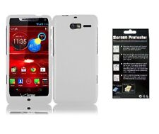 Screen Protector + White Faceplate Hard Cover Case for Motorola Razr i XT890