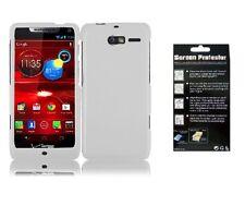 Screen Protector + White Faceplate Hard Cover Case for Motorola Razr i XT890