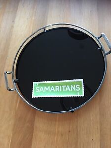 ART DECO ROUND BLACK GLASS TRAY  silver plated frame Yeoman Plate