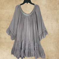 Plus Size Peasant Boho Hippie Gray Tiered Ruffle Tunic Top Blouse 1XL 2XL