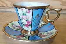 Vintage Royal Sealy China Tea Cup & Saucer, Blue and White striped with roses.