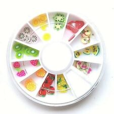 Roue de Strass Nail Art Pate Fimo Fruits Fraise Pastèque Manucure Decoration