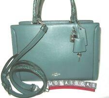 Coach 91036 Zoe Dark Turquoise Snake Trim Pebbled Leather Carryall Handbag $528
